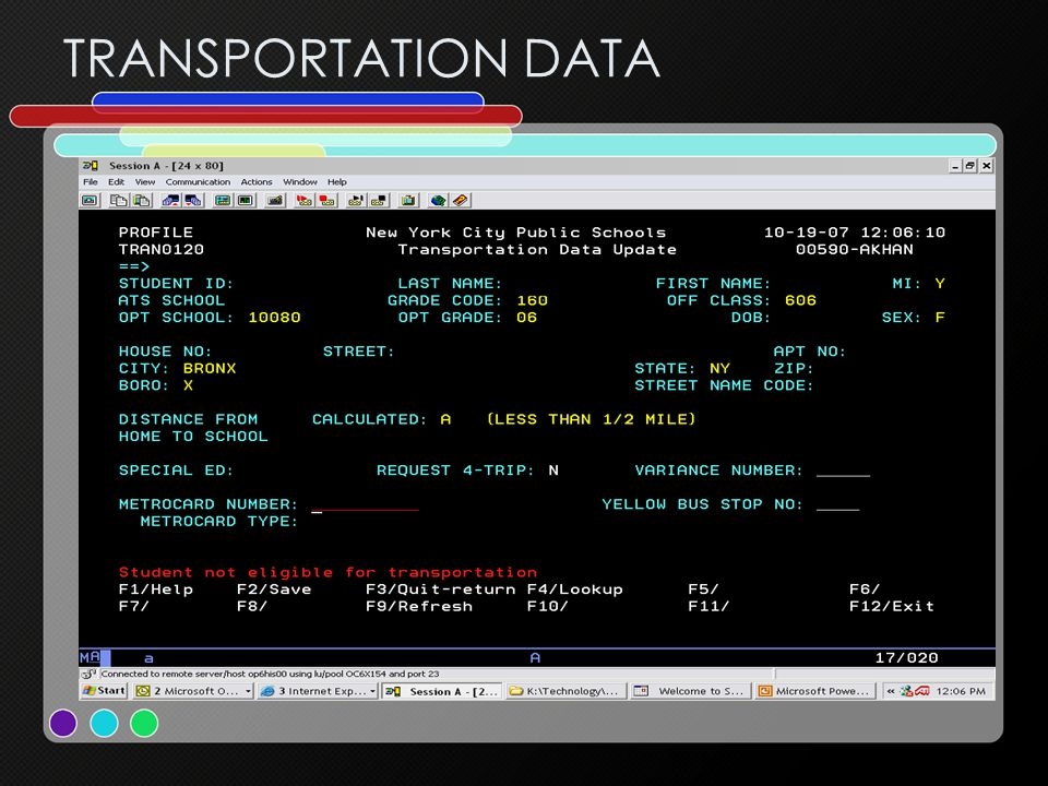 TRANSPORTATION DATA
