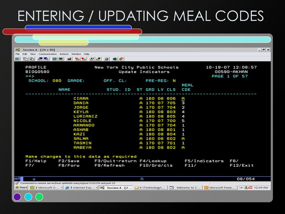 ENTERING / UPDATING MEAL CODES