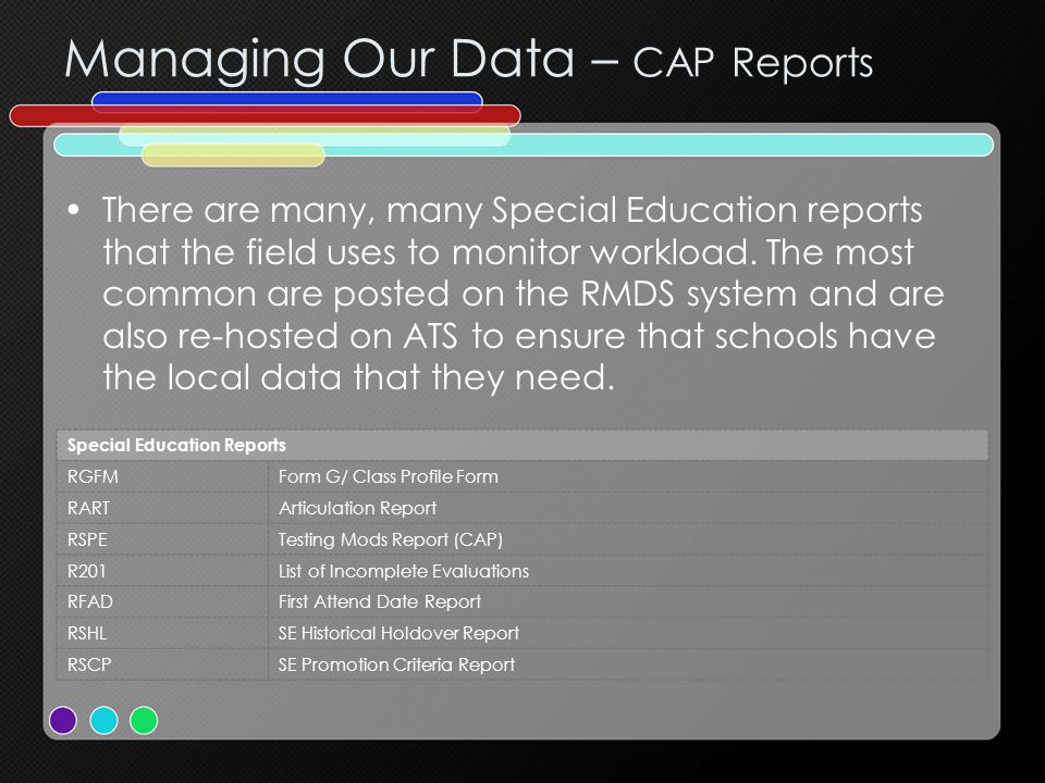 Managing Our Data – CAP Reports