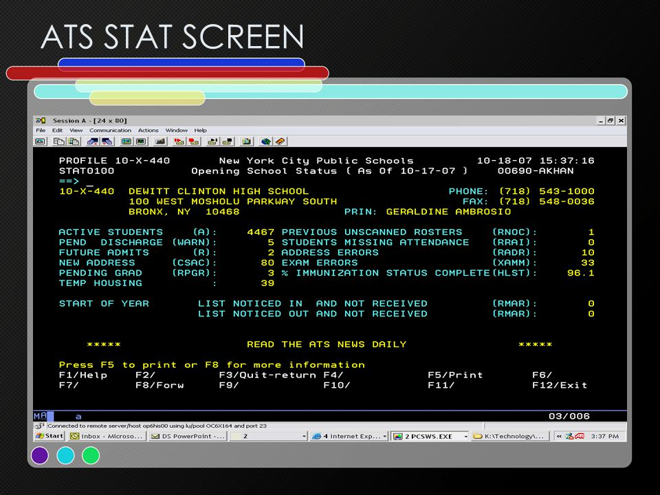 ATS STAT SCREEN