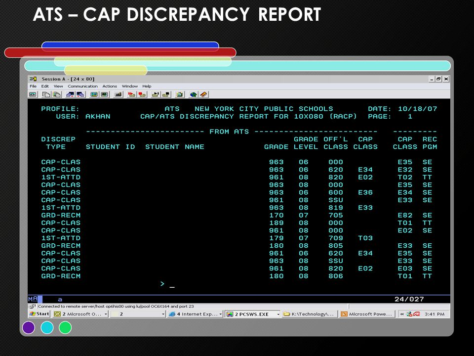 ATS – CAP DISCREPANCY REPORT
