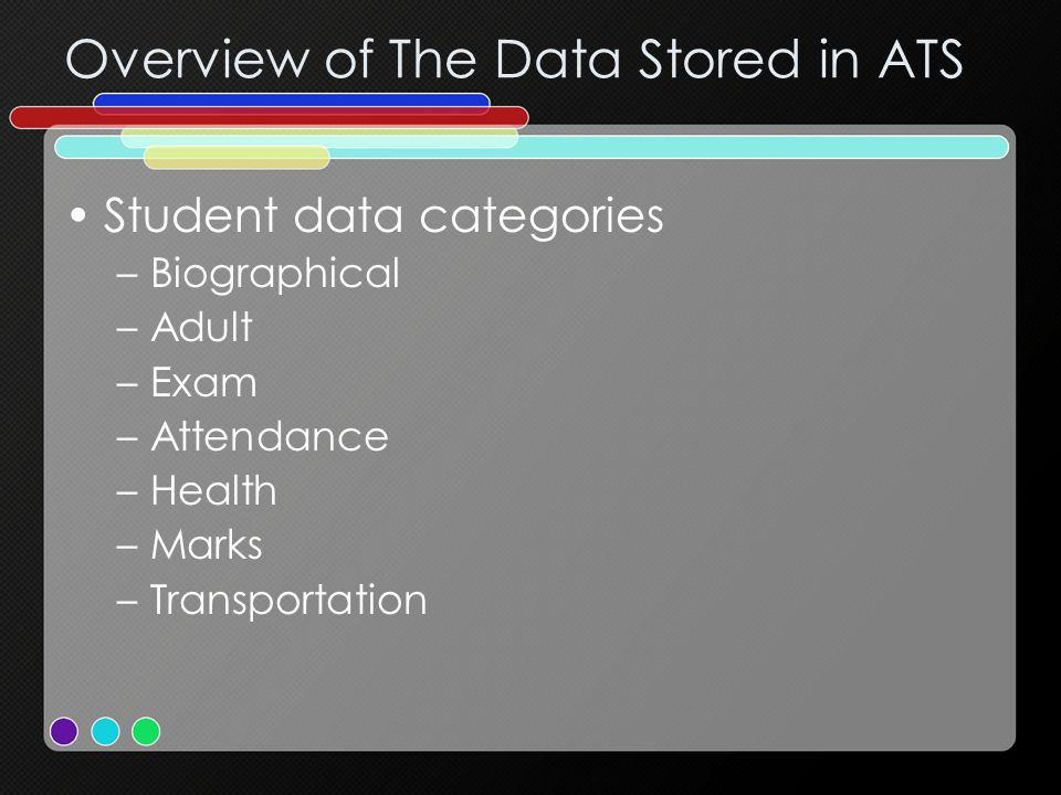 Overview of The Data Stored in ATS