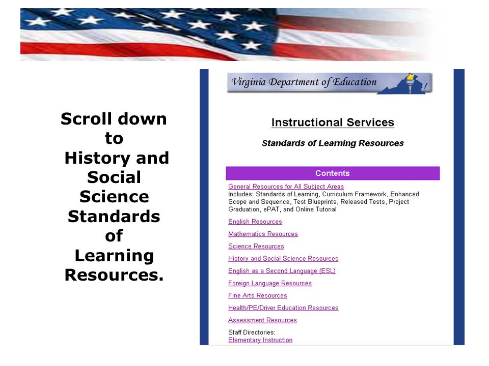 History and Social Science Standards of Learning Resources.