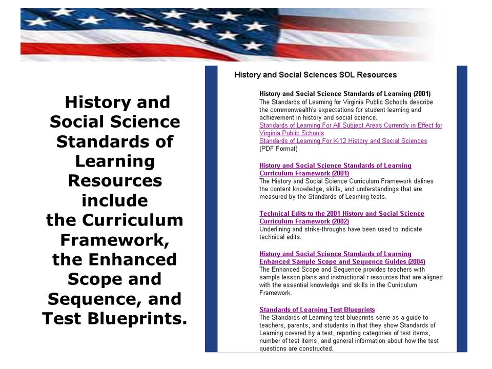 History and Social Science Standards of Learning Resources include the Curriculum Framework, the Enhanced Scope and Sequence, and Test Blueprints.