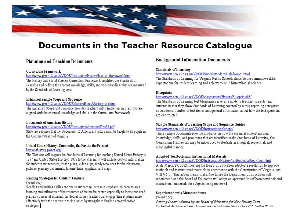 Documents in the Teacher Resource Catalogue