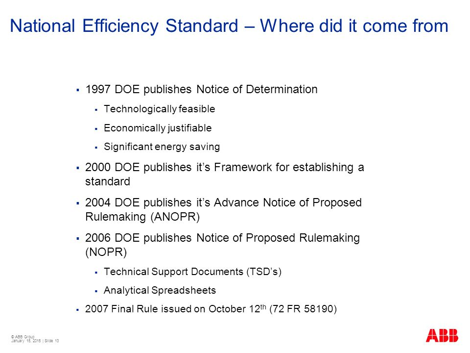 National Efficiency Standard – Where did it come from