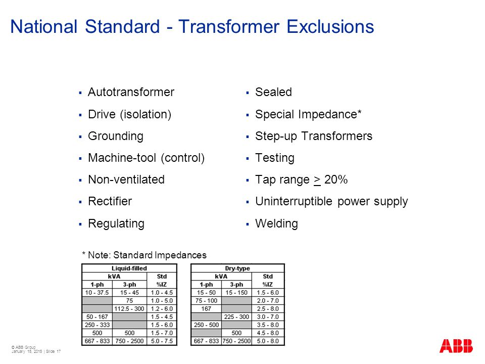 National Standard - Transformer Exclusions