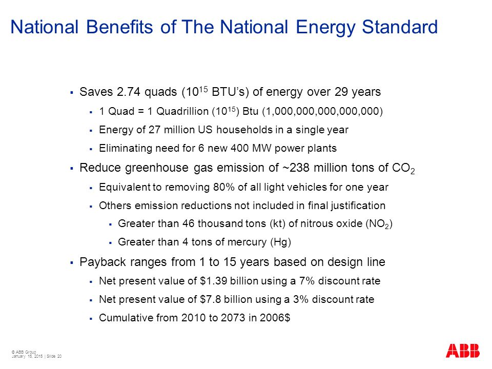 National Benefits of The National Energy Standard