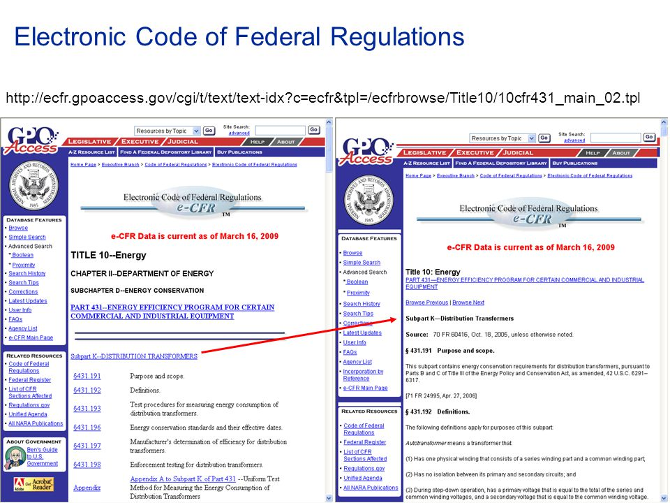 Electronic Code of Federal Regulations