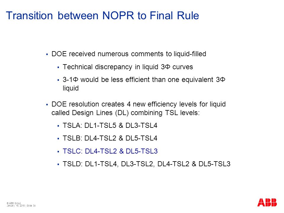 Transition between NOPR to Final Rule
