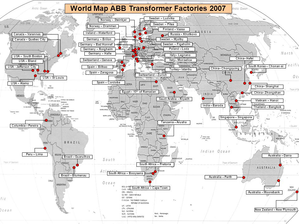 World Map ABB Transformer Factories 2007