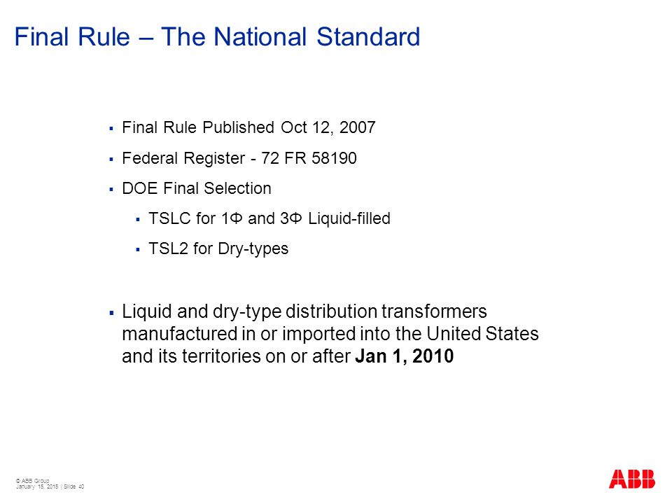 Final Rule – The National Standard