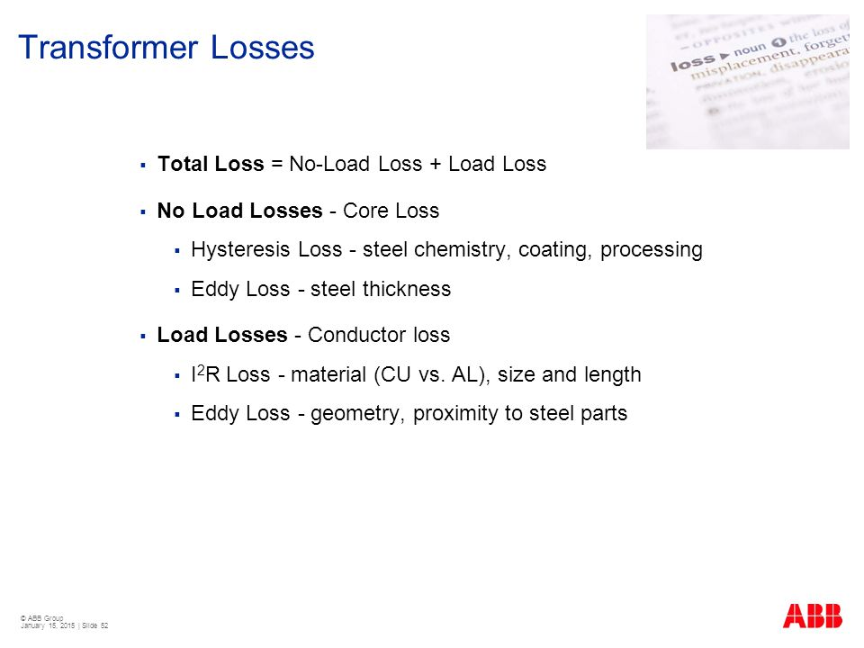 Transformer Losses Total Loss = No-Load Loss + Load Loss