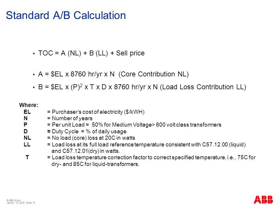 Standard A/B Calculation
