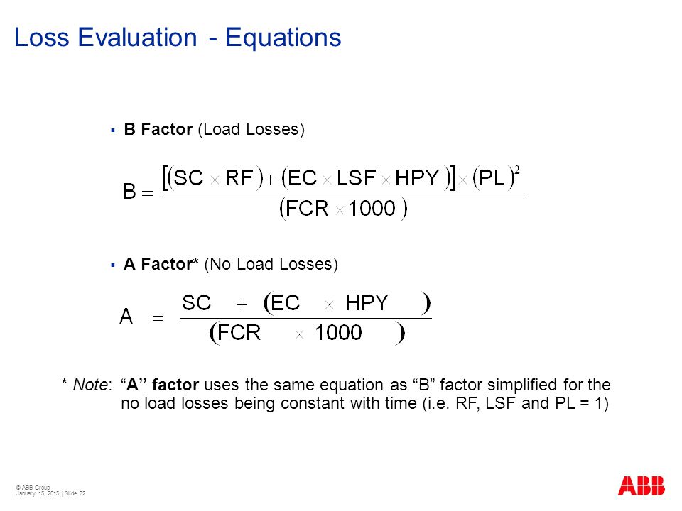 Loss Evaluation - Equations