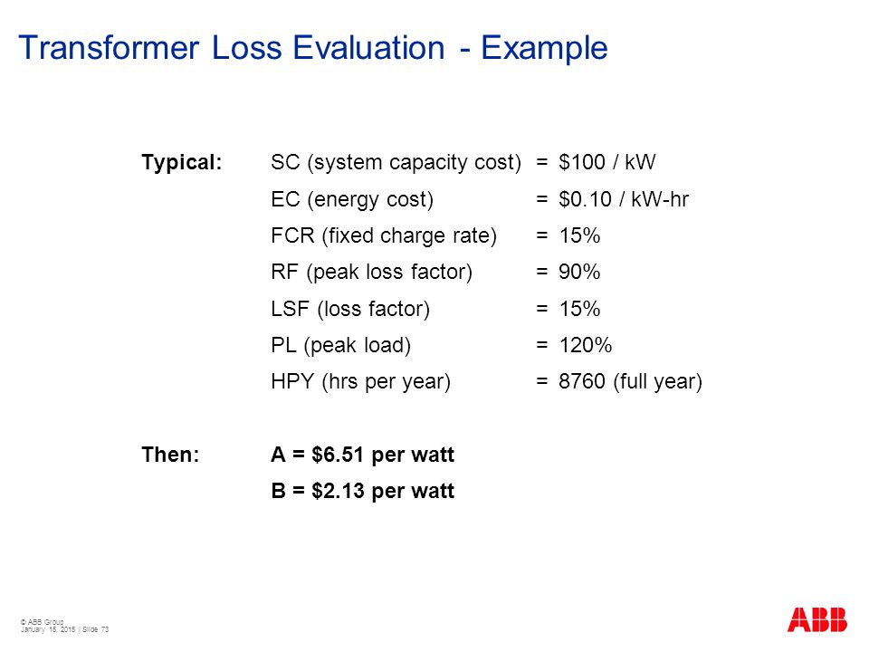 Transformer Loss Evaluation - Example