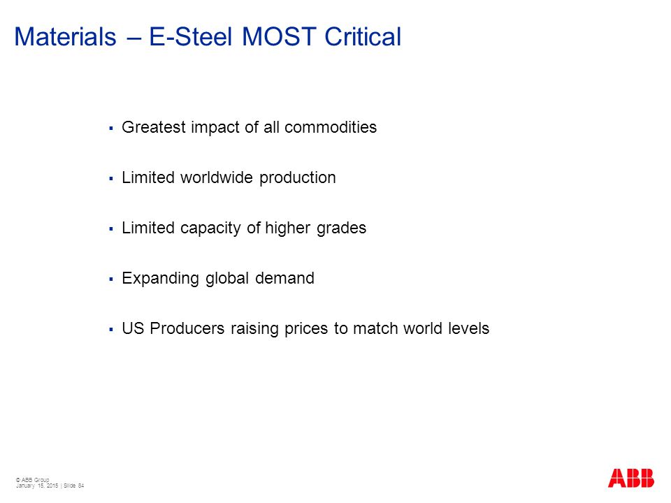 Materials – E-Steel MOST Critical