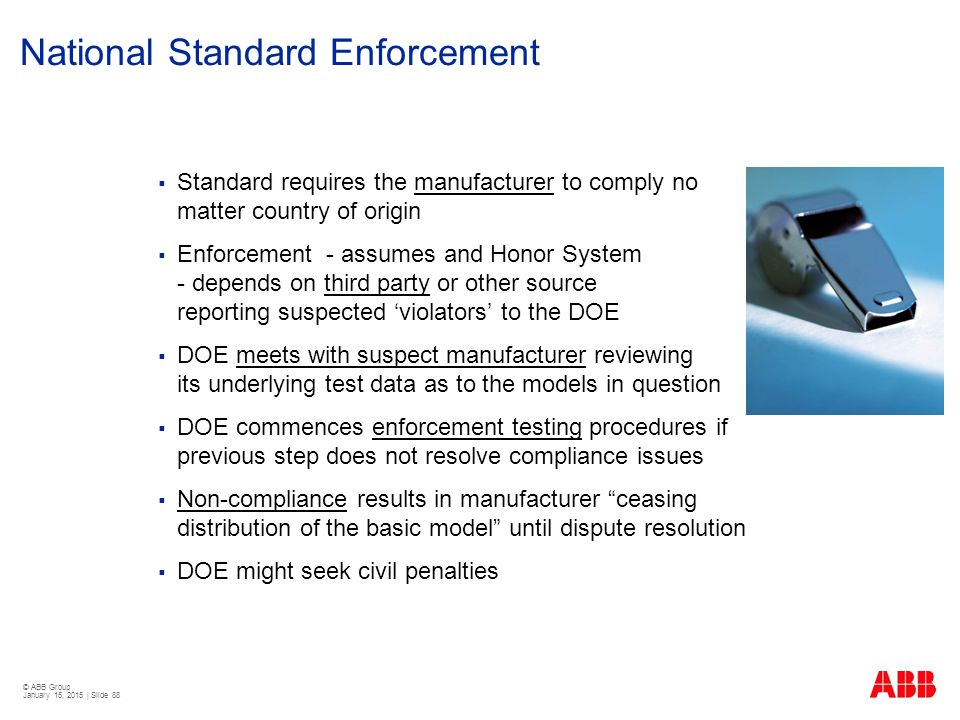 National Standard Enforcement