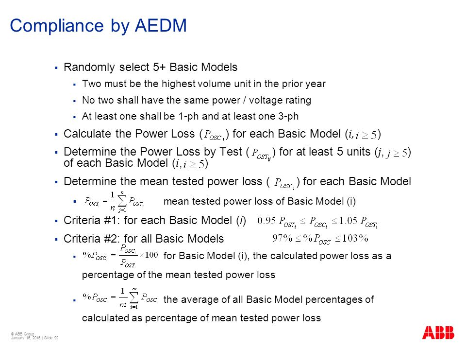 Compliance by AEDM Randomly select 5+ Basic Models