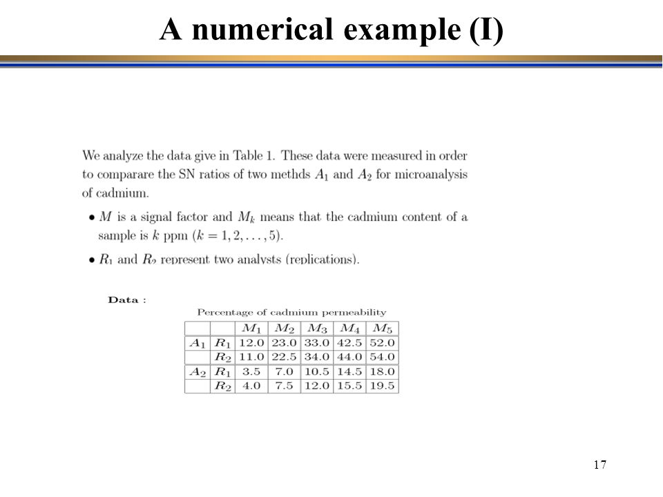 A numerical example (I)