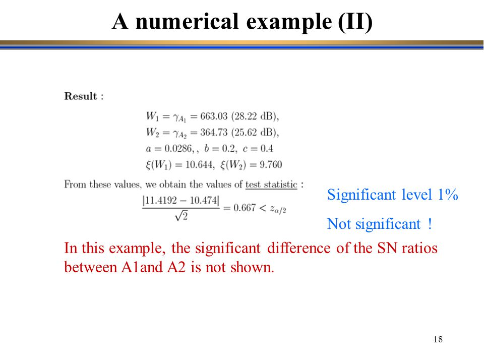 A numerical example (II)