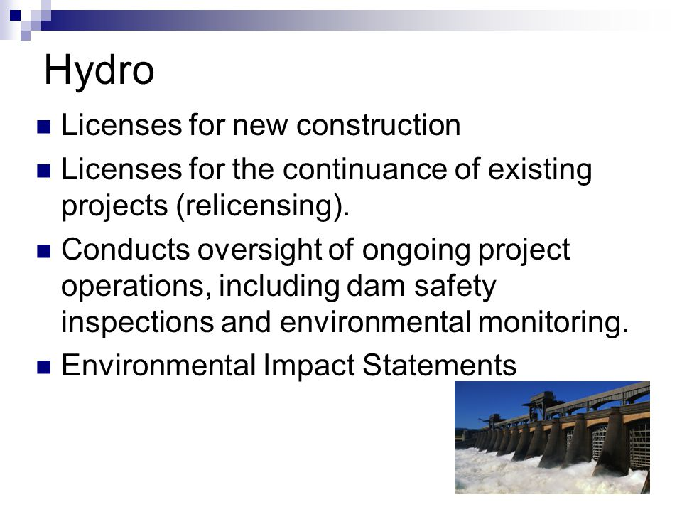 Hydro Licenses for new construction