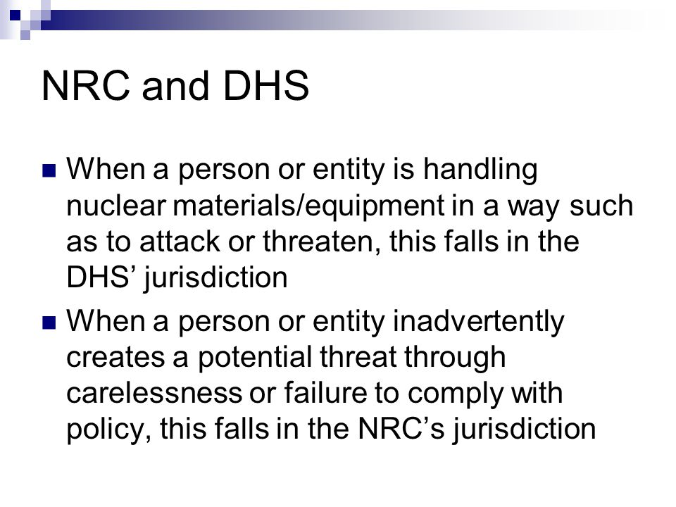 NRC and DHS