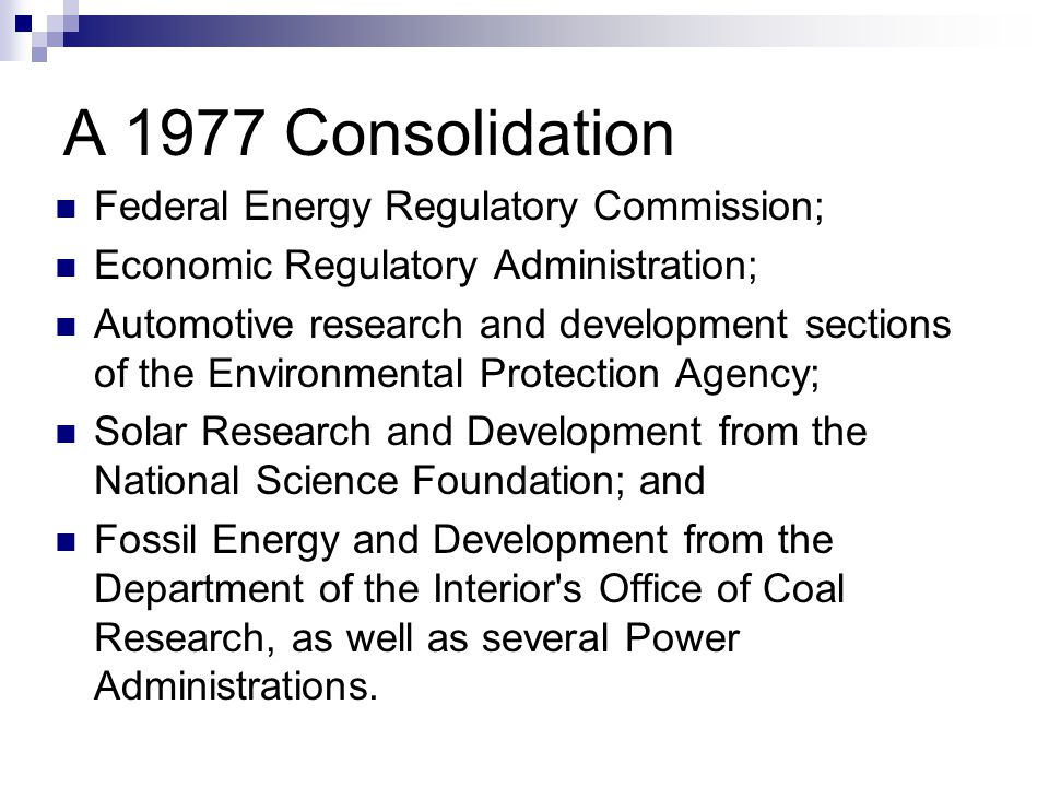 A 1977 Consolidation Federal Energy Regulatory Commission;