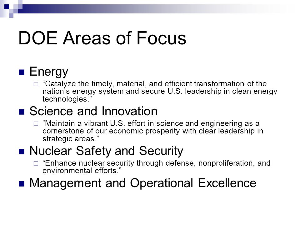 DOE Areas of Focus Energy Science and Innovation