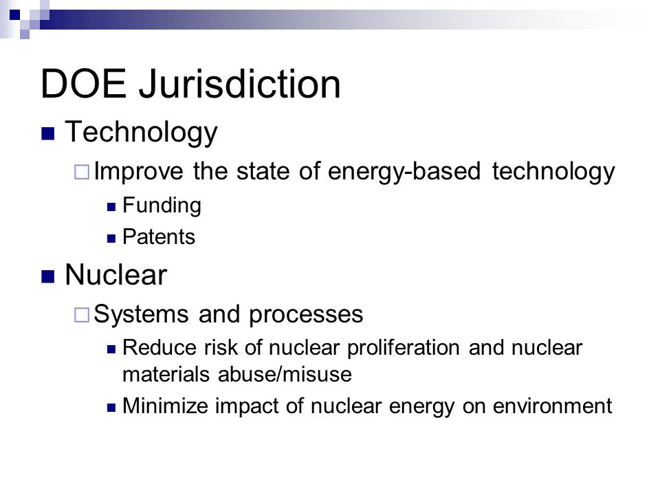 DOE Jurisdiction Technology Nuclear