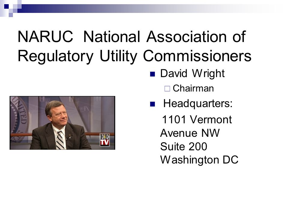 NARUC National Association of Regulatory Utility Commissioners