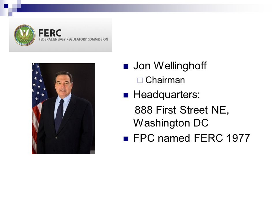 888 First Street NE, Washington DC FPC named FERC 1977