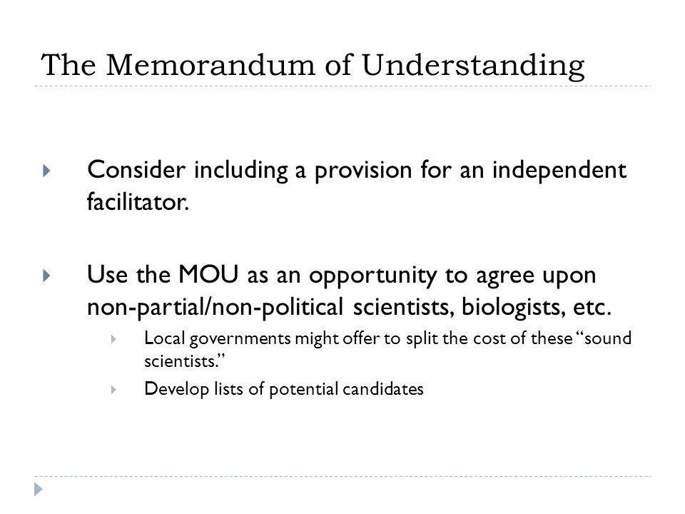 The Memorandum of Understanding