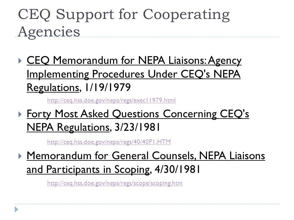 CEQ Support for Cooperating Agencies