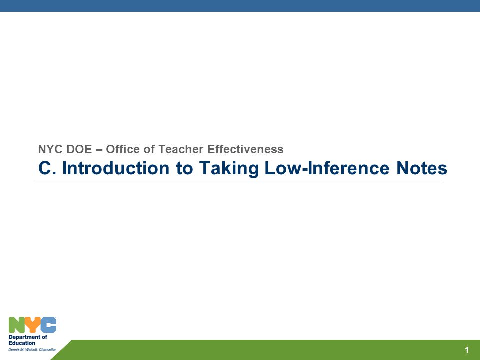 NYC DOE – Office of Teacher Effectiveness C