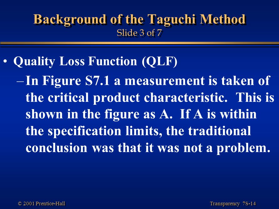 Background of the Taguchi Method Slide 3 of 7