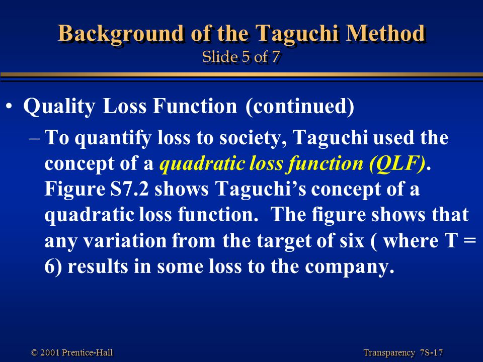 Background of the Taguchi Method Slide 5 of 7