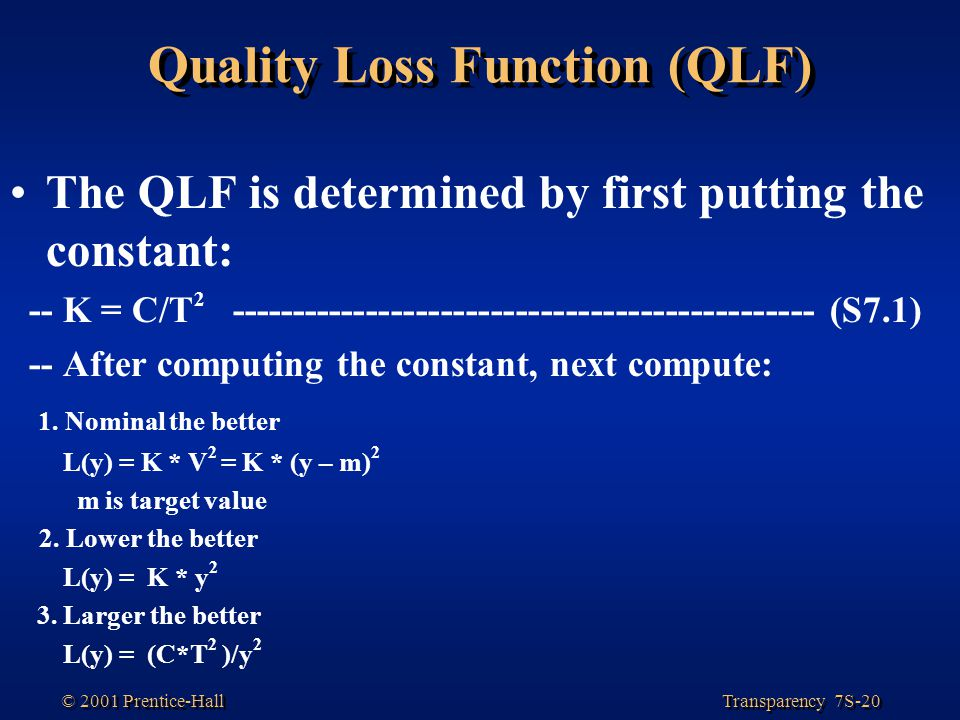 Quality Loss Function (QLF)