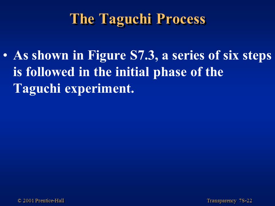The Taguchi Process As shown in Figure S7.3, a series of six steps is followed in the initial phase of the Taguchi experiment.