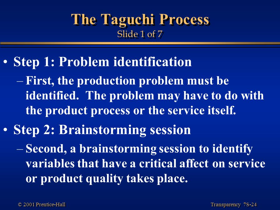 The Taguchi Process Slide 1 of 7