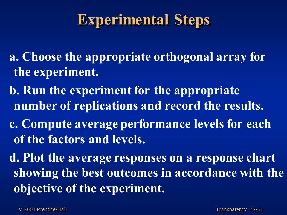 Experimental Steps a. Choose the appropriate orthogonal array for the experiment.