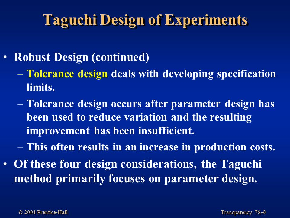 Taguchi Design of Experiments
