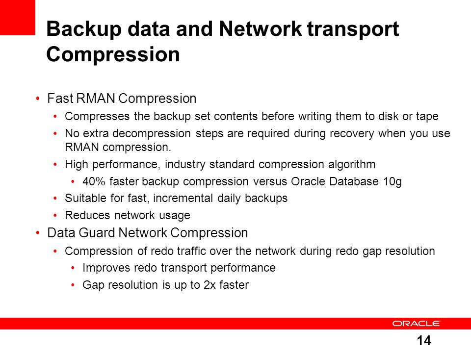 Backup data and Network transport Compression