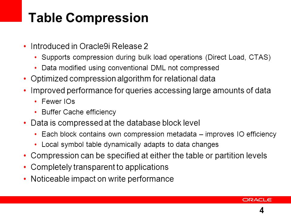 Table Compression Introduced in Oracle9i Release 2