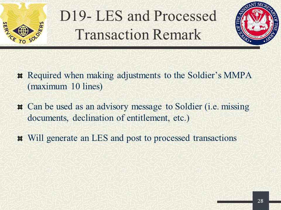 D19- LES and Processed Transaction Remark