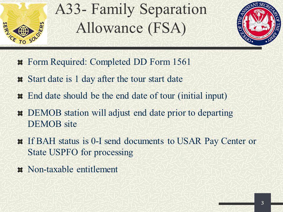 A33- Family Separation Allowance (FSA)
