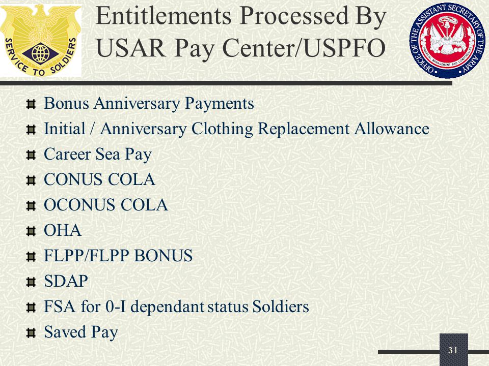 Entitlements Processed By USAR Pay Center/USPFO