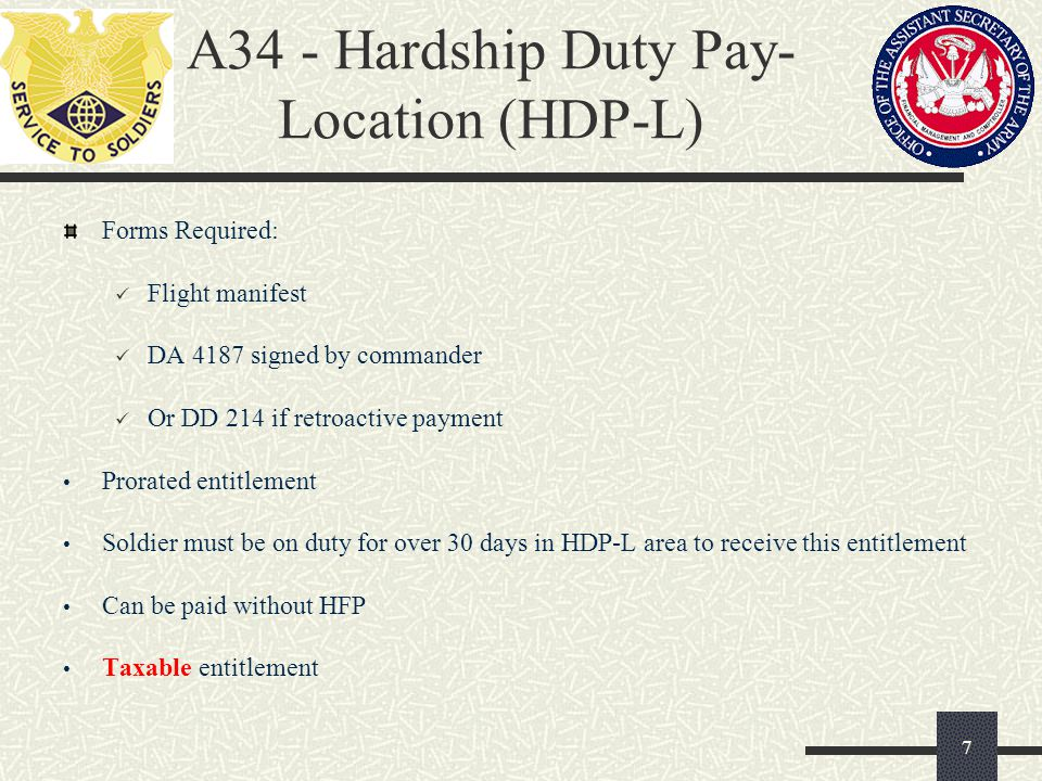 A34 - Hardship Duty Pay- Location (HDP-L)