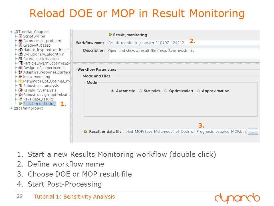 Reload DOE or MOP in Result Monitoring