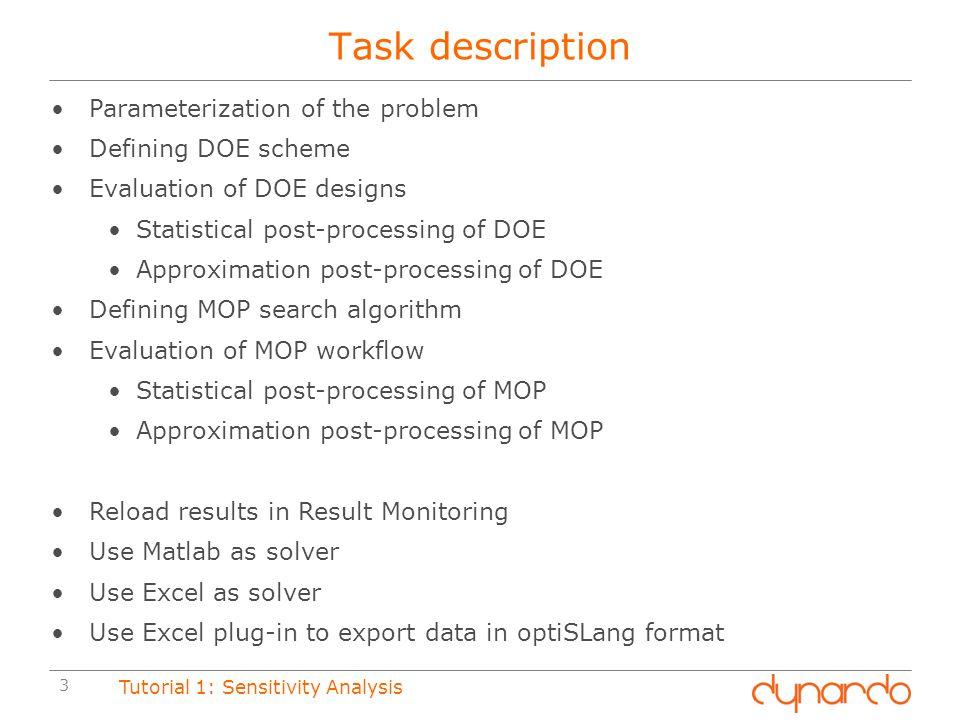 Task description Parameterization of the problem Defining DOE scheme
